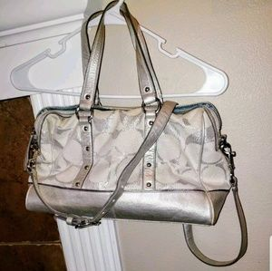 "AUTH SILVER COACH ""C"" HANDBAG WITH STUD ACCENTS"
